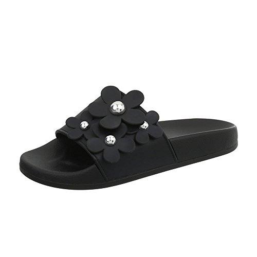 Femme Mules Sandales Ital Noir Chaussures 891 Plat Design qEnHa
