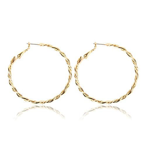 RIAH FASHION Simple Lightweight Geometric Statement Hoop Earrings - Classic Thin Wire Delicate Curved Threader Dangles Round/Pear/Horseshoe/Wood Oval (Twisted Rope - Gold Medium)