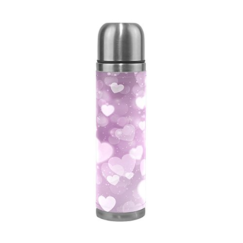 TSWEETHOME Vacuum Insulated Water Bottle Double Wall Stainless Steel Leak Proof Wide Mouth with Novelty Graphic Purple Dream Love Compact Bottle Beverage Bottle