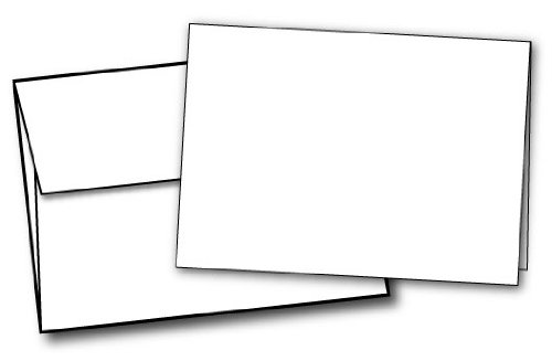 5'' X 7'' Heavyweight Blank White Greeting Card Sets (100 Cards & Envelopes)