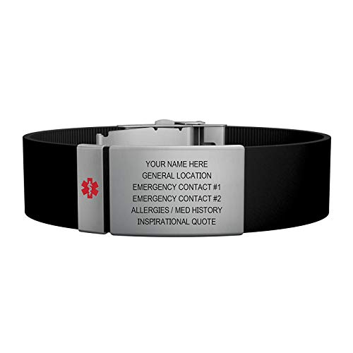 - Road ID Medical Alert Bracelet - the Wrist ID Elite Plus 19mm and Medical Alert Badge - Stainless Classic - Personalized Medical ID Bracelet (Black)