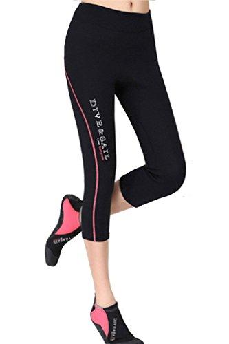 DIVE & SAIL Women's Wetsuits Capri Pants Premium 1.5 mm Neoprene Diving Snorkeling Scuba Surf Canoe, Red Trim, Medium