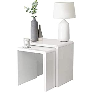 House & Homestyle Set of 2 Side, High Low Nesting Cube Inspired End Tables for Living Room, Bedside, Office or Lounge…