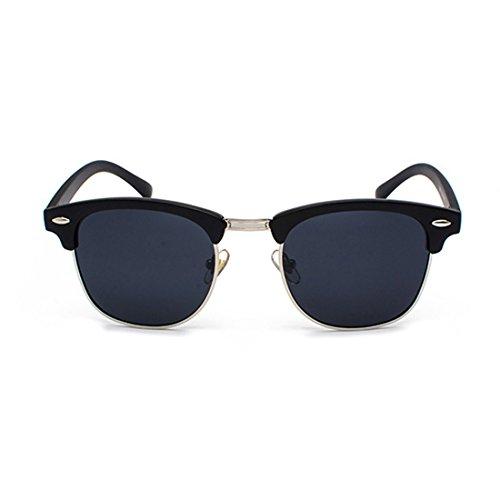 Gafas marco Inlefen Plateado sol UV400 hombres lentes Mujeres polarizados retro Matt Medio Gris y de Negro E0Bp0