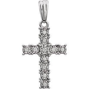 Pendentif Croix Diamant .05carat or blanc 14carats