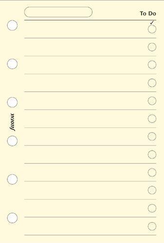 Filofax Personal - Recambio para agenda de anillas, hoja de tareas, color crema (