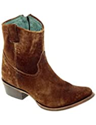 Corral Boots Womens 8-inch Abstract Distressed Leather Round Toe Chocolate/Tan Western Boot