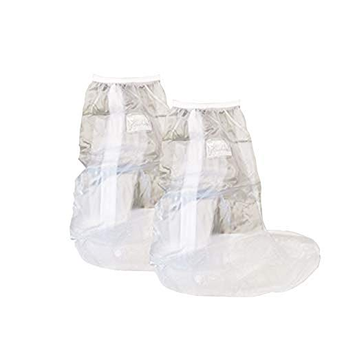CapsA Waterproof Rain Boot Shoe Cover Overshoes Galoshes Reusable Foldable Rain Boots with Reflector Rainproof Anti-Slip Rain Gear for Cycling Motorcycle Fishing Men Women Kids (Clear, L) ()