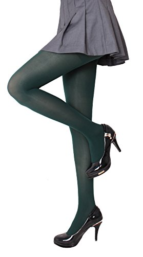 CozyWow Women's 80D Soft Solid Color Semi Opaque Footed Tights (S-M, Forest Green)