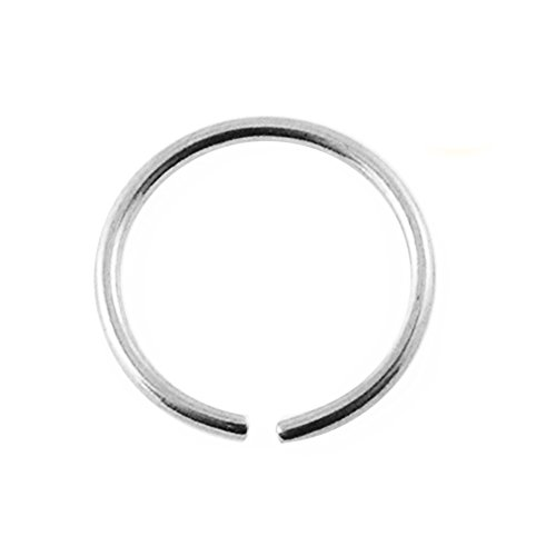 9KT Solid White Gold 22 Gauge (0.6MM) - 5/16 (8MM) Length Seamless Continuous Hoop Nose Ring (White Gold Nose Hoop 22 Gauge)