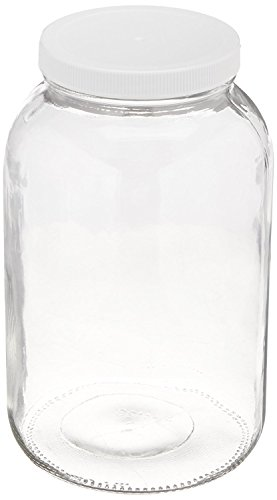 North Mountain Supply Nms A4128-C - 1 White Plastic Glass Wide-Mouth 110 CT Fermentation/Canning Jar with Plastic Lid, 1 gal, White by North Mountain Supply