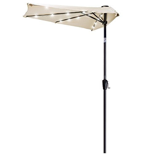9 Ft Patio 5-rib Half Sun Aluminum Umbrella Beige Polyester Waterproof Protection Commercial Wall Window Outdoor Parasol w/ 25 Solar-powered LED Lights by Generic