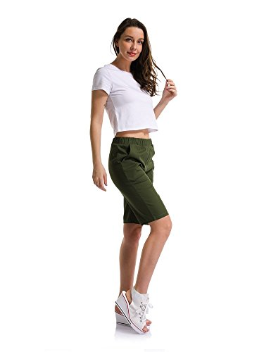670b3a4b88 Sobrisah Women's Elastic Waist Casual Knee Length Bermuda Shorts Army Green  Tag 3XL-UK 12: Amazon.co.uk: Clothing