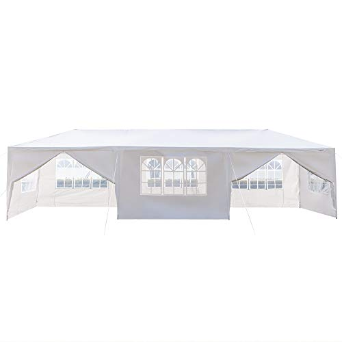 mefeir 10'x30' Canopy Party Wedding Tent with 8 Removable Panels Sidewalls,Upgraded Steel Tube Waterproof Sun Shelter Anti UV Protection Outdoor Shed Canopy for Garden, Graduation, Backpacking, Wh