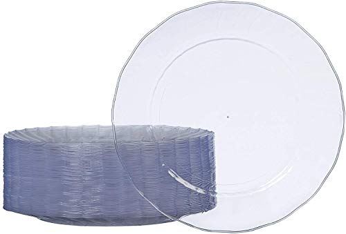 AmazonBasics Disposable Clear Plastic Plates, 50-Pack, 10.25-inch (Christmas Dinner Fancy Ideas)