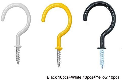 Storage Hook// Storage Hooks Guard 2.82-Inch Strong and Durable Black Vinyl Coated Ceiling Hooks Cup Hook Holder// Cup Hooks 5-pc-pack Mug Hooks