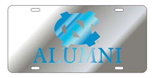 University of North Carolina Tar Heels Laser Cut Mirrored NC Alumni Silver License Plate ()