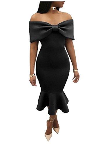 s Shoulder Off Bodycon Ruffle Jaycargogo Summer Women Dress The Sexy Black Evening qwxHa5FWC