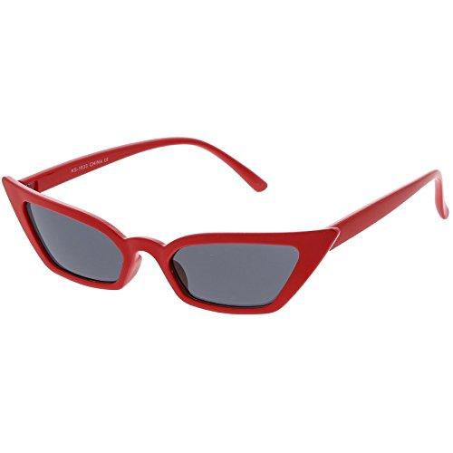 sunglassLA - Women's Thin Extreme Cat Eye Sunglasses Rectangle Lens 47mm (Red / - Eye Cat Sunglasses Extreme