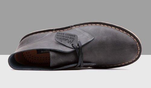 Happyshop (tm) Mens Koe Lederen Martin Laarzen Desert Boot Enkellaars Formele Slijtage Zakelijke Woestijn Schoen As Zwart