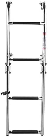 Akozon Folding Double Step Ladder Telescopic Boat Ladder Pontoon Stainless Steel 4 Step Suitable for Boat Mari
