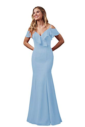 Women's Mermaid V-Neck Chiffon Bridesmaid Dress Long Prom Gown Floor Length Ligth Blue Size 0