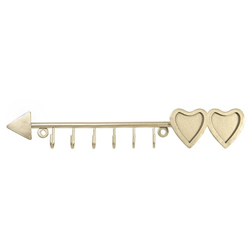 MyGift Brass-Tone Arrow Design Hanging Necklace Rack with 2 Heart-Shaped Photo Frames