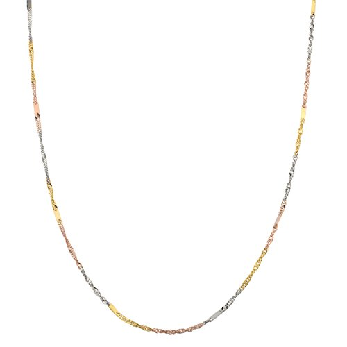 Kooljewelry 10k Tri-Color Gold 1.4 mm Singapore Chain Necklace (18 inch)