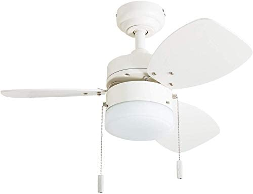 Honeywell Ceiling Fans 50600-01 Ocean Breeze Contemporary, 30 LED Frosted Light, Light Oak Satin Nickel Finish Blades, White