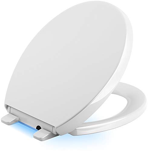KOHLER 75793-0 Reveal Nightlight Quiet-Close with Grip-Tight Round-Front Toilet Seat, - Kohler Nightlight Toilet Seat
