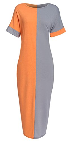 Orange Block Long Dress - 8