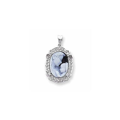 14k White Gold Diamond Agate Cameo with Sentiment Pendant