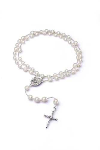 Rosary Beads of Rice White Freshwater Cultured Pearls Silver Medal - Elegant Design Cross - Cherry Cultured Bracelets