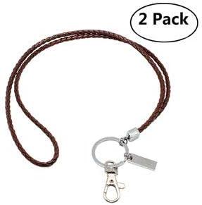 Boshiho llaves cuello cordón cuero con clip de metal para el titular de la tarjeta de identificación, llaves, teléfono (2 pack of marrón): Amazon.es: Oficina y papelería