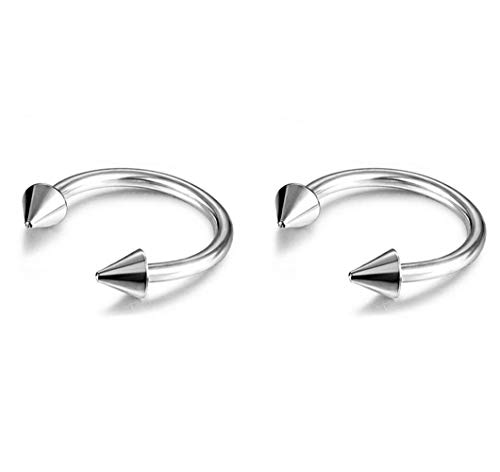 (2Pcs 20G 10mm Women's Cute Stainless Steel Nose Studs Rings Unisex Body Jewelry Piercing Nose Hoop Ring)