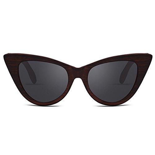 Bambú Gafas Grey Sol UV400 Sol Fansport De Marco De Retro De Mujer Sol para Gafas De para Exteriores De Gafas Hn4wTwFdq0