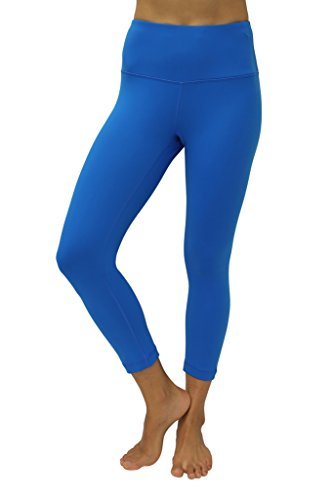 90 Degree By Reflex – High Waist Tummy Control Shapewear – Power Flex Capri -Blue Grotto-S (Blue Power)