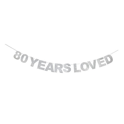 80 Years Loved Banner Silver Glitter Heart For