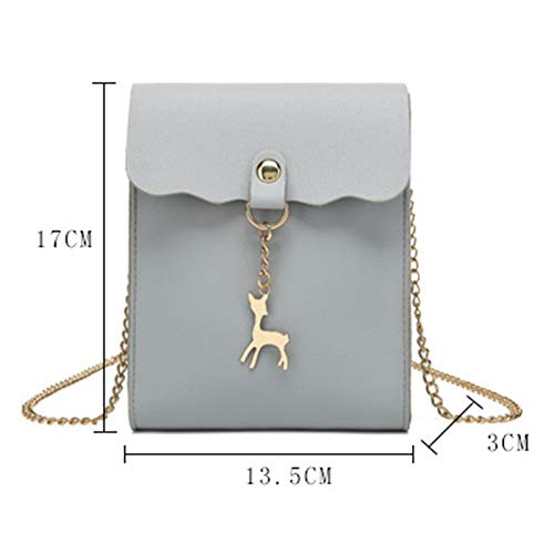 Daliuing Leather Black Holder Card Bag Women Shoulder Bag Headset Phone PU for Messenger Waterproof Cross Color Girls Pouch Solid Gray rCrWwYq