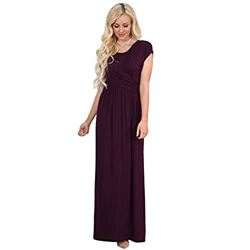 Athena Modest Maxi Dress In Deep Plum Purple or Burgundy Plum - L, Modest Bridesmaid Dress In Dark Purple