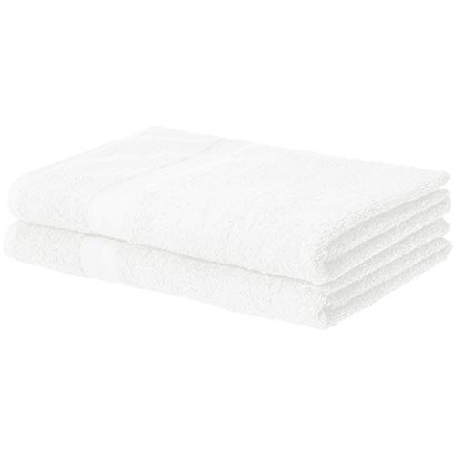 AmazonBasics Fade-Resistant Cotton Bath Sheet Towel – Pack of 2, White