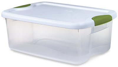 clear stackable latching storage container