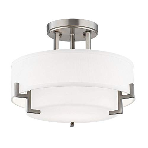 - Modern Ceiling Light with White Glass in Satin Nickel Finish