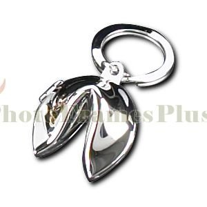 Bey-Berk BB169S Silver Plated Fortune Cookie Box Key Ring. Grey -