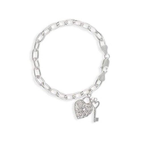 Sterling Silver 1/2Ct Cubic Zirconia Lock & Key Heart Charm Bracelet, 7'' (Sterling Silver 7' Key)
