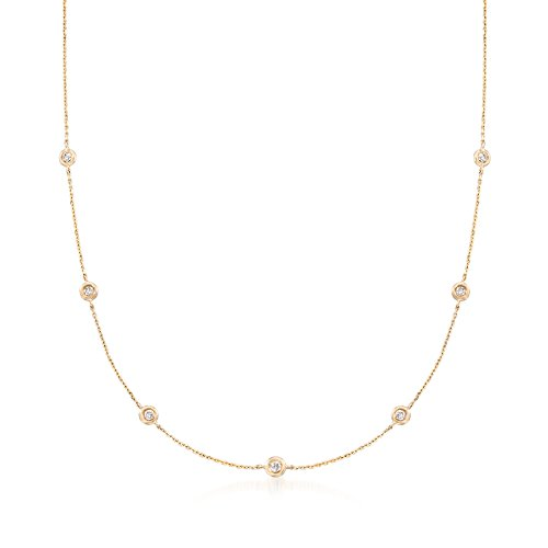 Ross-Simons 0.20 ct. t.w. Diamond Station Necklace in 14kt Yellow ()