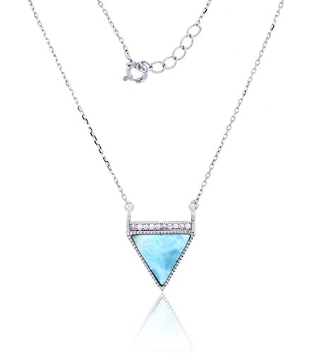 - Sterling Silver Natural Larimar and Pave Cubic Zirconia Triangle Dagger Necklace Pendant With 16