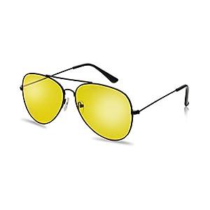 Classic Black Metal Frame Aviator Style Sunglasses W/ Retro Colored Lens (Black, Yellow)