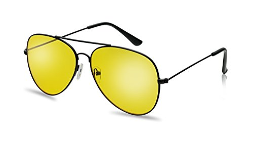 Classic Black Metal Frame Aviator Style Sunglasses W/ Retro Colored Lens (Black, - Yellow Aviator Sunglasses