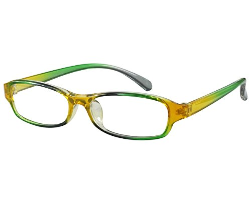 Signature Rectangular Sunglasses - Ebe Women Reader Cheaters Bold Colors TR90 Flex Green Yellow +1.00